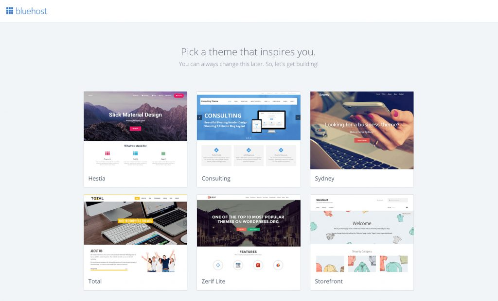 bluehost theme selection